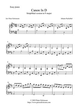 PictureCanon In D by Pachelbel, piano sheet music, PDF