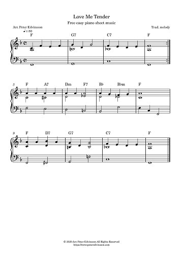 Love Me Tender (Aura Lee), piano sheet music